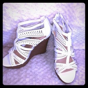 Jasmine white wedge sandal heels
